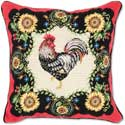 French Rooster Needlepoint Pillow