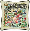 Geography Embroidered Handmade Massachusetts Pillow