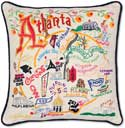 Giant Atlanta Georgia Handmade Embroidered Pillow