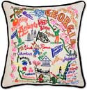 Giant Embroidered Geography Georgia Handmade Pillow