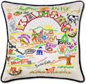 Giant Embroidered Handmade Kansas Geography Pillow