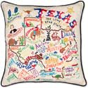 Giant Embroidered Handmade Texas Geography Pillow