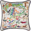 Giant Embroidered Handmade Vermont Geography Pillow