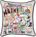 Giant Embroidered Maine Geography State Pillow