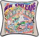 Giant Hand Embroidered Louisiana New Orleans Pillow