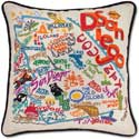 Giant Handmade Embroidered Geography San Diego Pillow