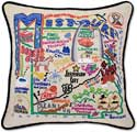 Giant Handmade Embroidered Missouri Geography Pillow