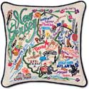 Giant Handmade Embroidered New Jersey State Pillow