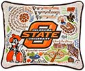 Giant Handmade Embroidered Oklahoma State University Pillow