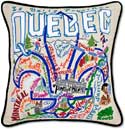 Giant Handmade Embroidered Quebec Canada Pillow