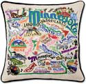 Giant Handmade Embroidered State Minnesota Pillow