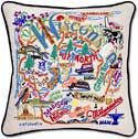 Giant Handmade Embroidered Wisconsin Geography Pillow