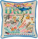Giant Handmade Emerald Coast Florida Embroidered Pillow