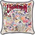 Giant Handmade Houston Texas Embroidered Geography Pillow