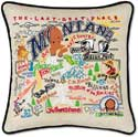 Giant Handmade Montana Embroidered Geography Pillow