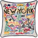 Giant Handmade New York City Embroidered Geography Pillow