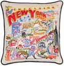Giant Handmade New York State Embroidered Pillow