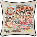 Giant Handmade Oklahoma Embroidered Geography Pillow