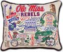 Giant Handmade Ole Miss Mississippi Embroidered Pillow