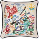 Giant Handmade Rhode Island Embroidered Pillow