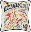 Giant Handmade Route 66 Embroidered Pillow
