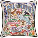 Giant Hill Country Texas Embroidered Decorative Pillow