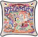 Giant Philadelphia Handmade Embroidered Geography Pillow