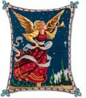 Handmade Angel Christmas Needlepoint Pillow