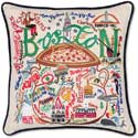 """Handmade Boston Embroidered Geography Pillow<br><font color=""""red""""><font size=""""2""""><b>One Available</b></font></font>"""