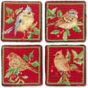 Handmade Christmas Bird Needlepoint Coasters
