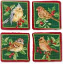 Handmade Christmas Birds Needlepoint Coasters