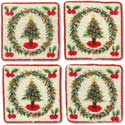 Handmade Christmas Tree Needlepoint Coasters