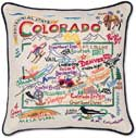 Handmade Colorado Embroidered Geography Pillow