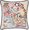 """Handmade Embroidered California Geography State Pillow<br><font color=""""red""""><font size=""""2""""><b>One Available</b></font></font>"""