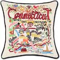 Handmade Embroidered Geography Connecticut Pillow