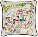 Handmade Embroidered Geography Ireland Pillow
