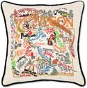 Handmade Embroidered Geography Oregon Pillow