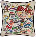 Handmade Embroidered Idaho Geography Pillow