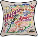 Handmade Embroidered Indiana Geography Pillow