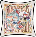 Handmade Embroidered Minneapolis St Paul Pillow