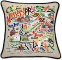 Handmade Embroidered Mississippi Throw Pillow