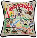 Handmade Embroidered Nebraska Geography Pillow