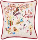 """Handmade Embroidered North Pole Christmas Pillow<br><font color=""""red""""><font size=""""2""""><b>One Available</b></font></font>"""