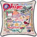 Handmade Embroidered Ohio Geography Pillow