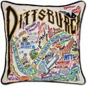 Handmade Embroidered Pittsburgh Geography Pillow