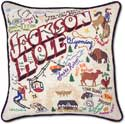 Handmade Embroidered Ski Jackson Hole Pillow