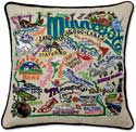 Handmade Embroidered State Minnestoa Pillow