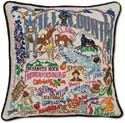Handmade Embroidered Texas Hill Country Pillow