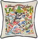 Handmade Embroidered Washington Geography Pillow