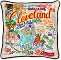 Handmade Embroidred Cleveland Geography Pillow